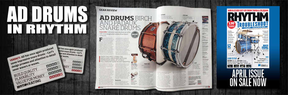AD Drums in Rhythm Mag April 2015