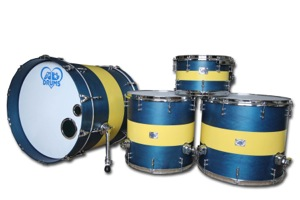 Royal Blue Stain Canary Yellow Painted Bands / Chrome Hardware