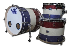 Red, Blue & Silver Triband Sparkle / Chrome Hardware