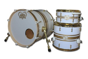 Gloss White Wrap With Gold Pinstripes / Brass Hardware