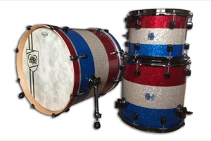 Red, Blue & Silver Triband Sparkle /Black Nickel Hardware