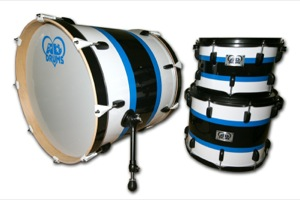 Gloss White Wrap With Black & Blue Pinstripes / Black Hardware