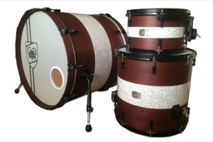Brown Stain With White Marine Pearl Inlay / Black Hardware